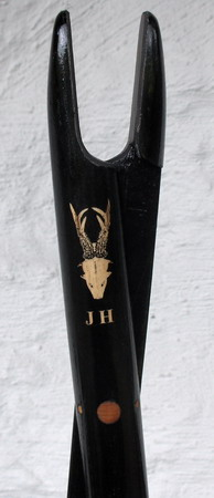 Laserengraved initials and roe buck drawn by Truls Wiberg